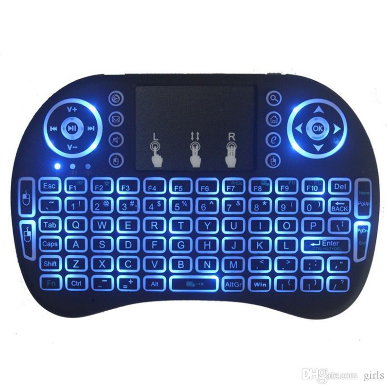 لوحة المفاتيح البسيطة I8 2.4G اللاسلكية الإنجليزية ماوس الهواء لوحة المفاتيح للتحكم عن بعد لوحة اللمس الذكية للالروبوت التلفزيون مربع الدفتري اللوحي