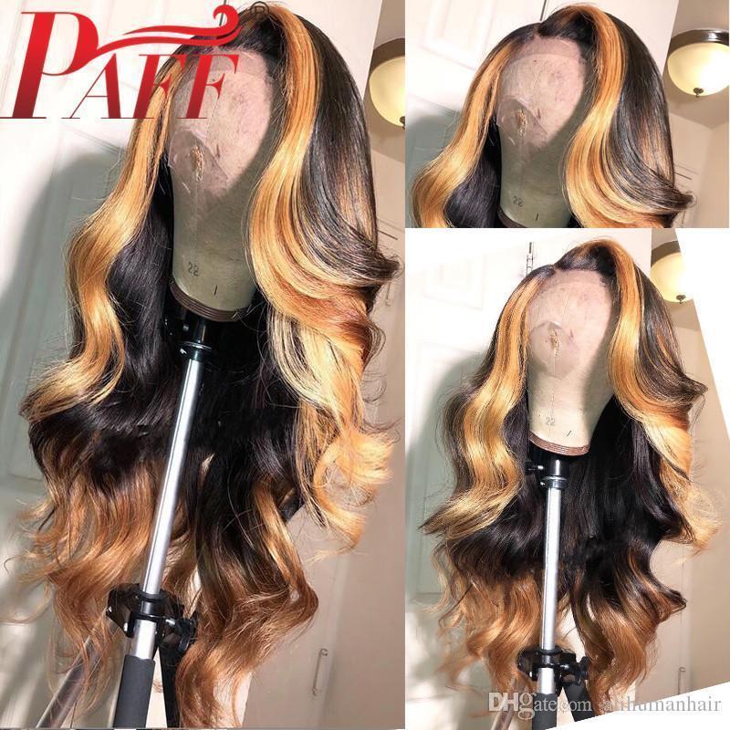 Cabello humano pelucas llenas del cordón sin cola de encaje completa pelucas nudos blanqueados cuerpo de la onda brasileña Ombre de pelo color de realce pelucas
