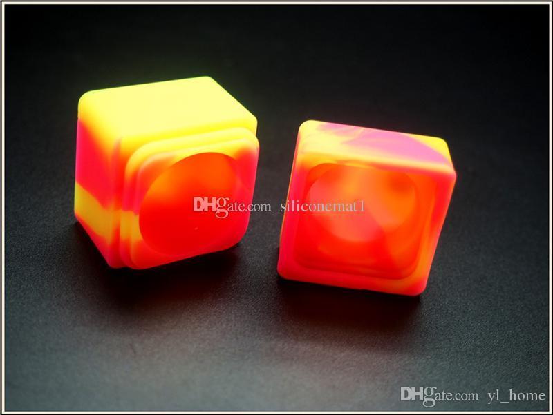 10pcs / lot 9ml 미니 큐브 모양 모듬 된 색상 실리콘 용기 Dabs 라운드 모양 실리콘 용기 왁 스 실리콘 항아리 Dab 컨테이너