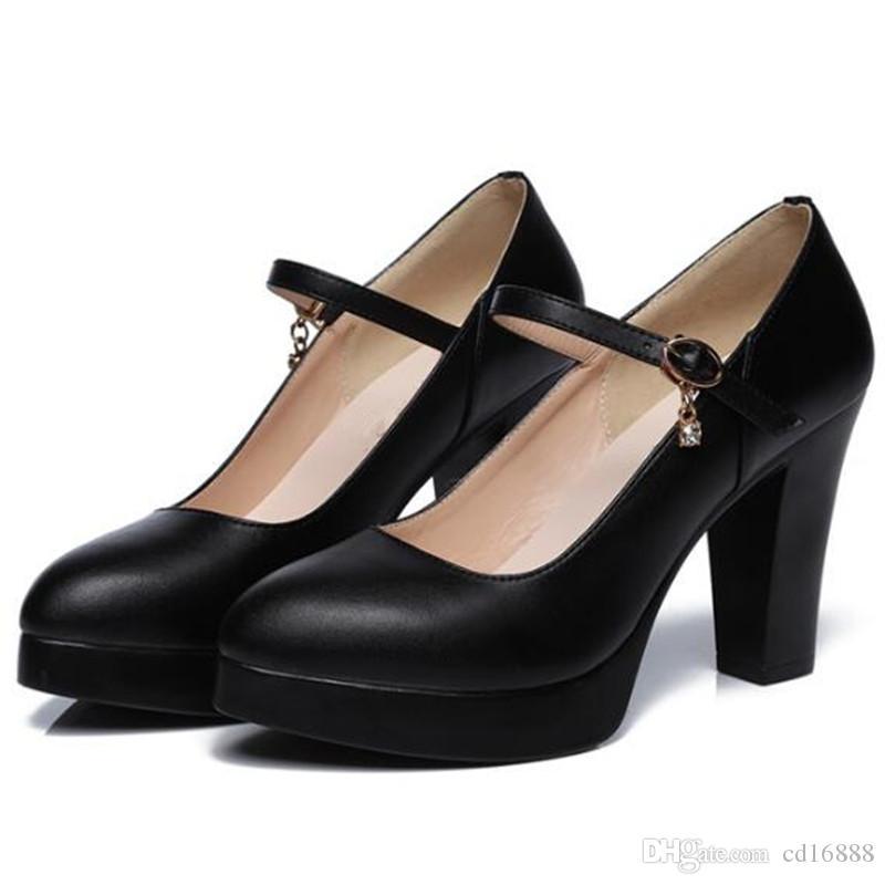 Venta caliente 2019 más nuevo elegante moda negro primavera zapatos mujer zapatos de tacón alto tamaño 32-43 zapatos de cuero genuino tacones altos 6 8 cm