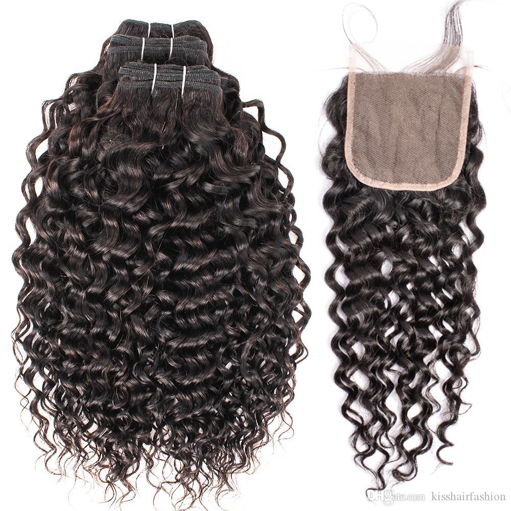 4 * 4 레이스 폐쇄 자연 색상 버진 브라질 인간의 머리카락 확장 10-26 인치 레미 곱슬 짜기와 키스 헤어