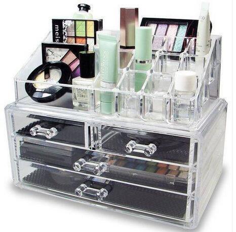 Free shipping US ARCHIVI all'ingrosso 4 cassetti integrati trucco acrilico Caso Cosmetics Organizzatore trasparente