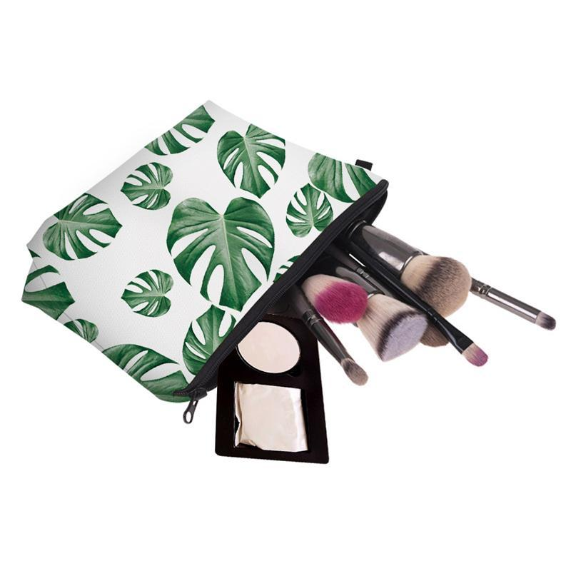 Green Bag Printing Toiletry Cosmetics Makeup Bags Multicolor Bag Pouch Pattern Cosmetic Travel Leaves For Pouchs Women Vkslj