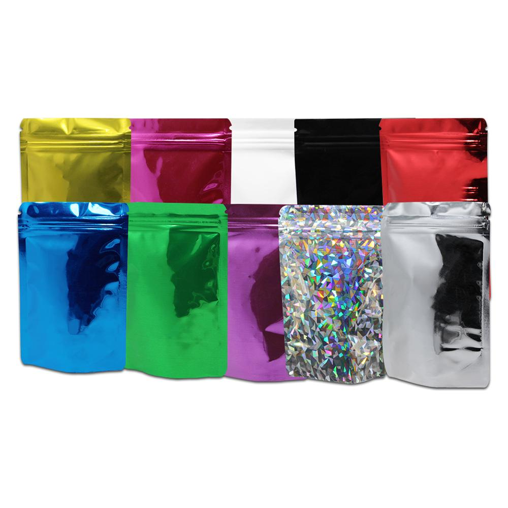 200pcs / Lot colorido Mylar puede volver a sellar bolsas de empaquetado de bolsas con cremallera de bloqueo de almacenamiento de alimentos para Zip Doypack autosellante de bloqueo de ultramarinos bolsas del embalaje