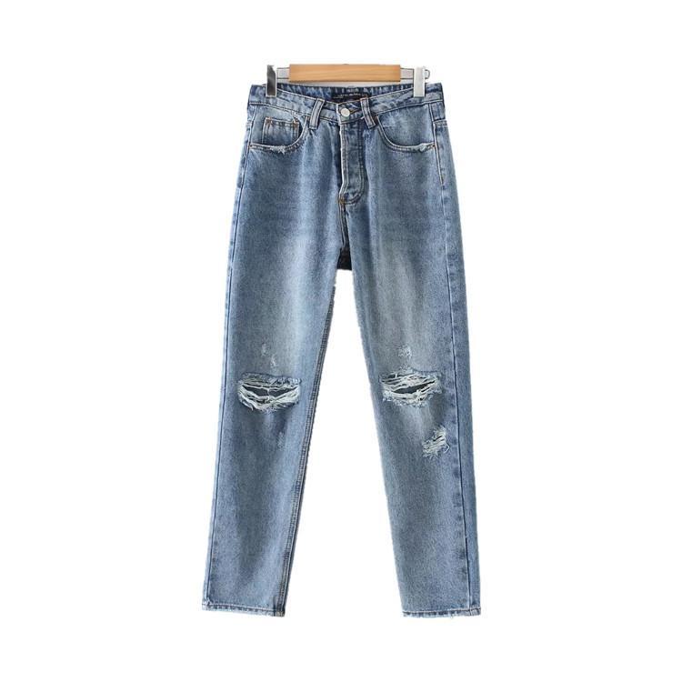 Ozhouzhan Fashion High-taillierte Waschen mit Löchern Jeans Damen 2018 Herbst-neue Art Versatile Abnehmen Fünf-Knopf Gerade-le