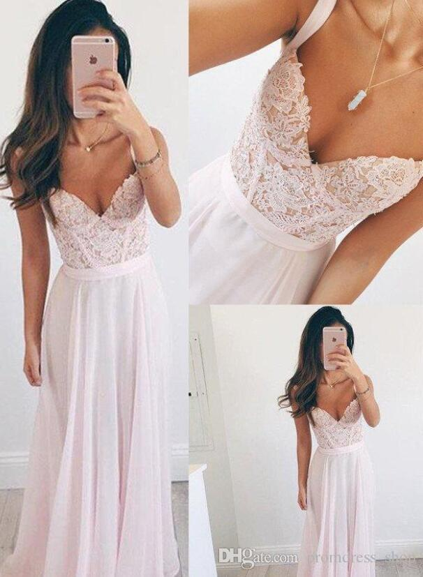 2020 Dusty Pink Lace Chiffon Beach Evening Dress Long Formal Holiday Wear Prom Party Gown Custom Made Plus Size