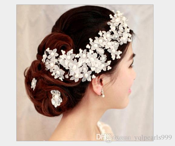 Handmade crystal forehead Korean pearl wedding headdress wedding hair accessories