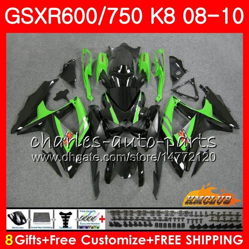 Кузов для Suzuki GSX-R600 GSXR-750 GSXR600 2008 2009 2010 2010 9HC.44 GSXR750 GSX R750 R600 K8 GSXR 600 750 08 09 10 Объекты Зеленый черный
