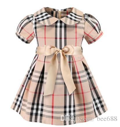 robe à carreaux 2019 styles européen et américain nouvelle fille enfants été mignon poupée collier manches courtes fille haute qualité coton robe à carreaux
