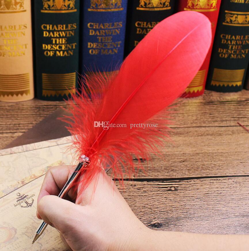 الأزياء ريشة الريشة قلم 14 ألوان أقلام ل هدية الزفاف مدرسة مكتب الكتابة المورد kawaii القلم القرطاسية GGA157