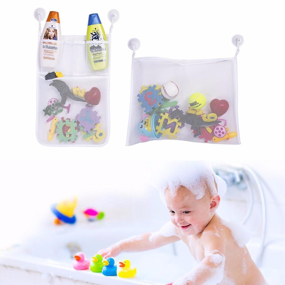 2 Adet / takım 2018 Moda Bebek Banyo Oyuncak Örgü Saklama Çantası Organizatör Küvet Bebek Sepeti Organizatör Emme Banyo Sayfalar Net