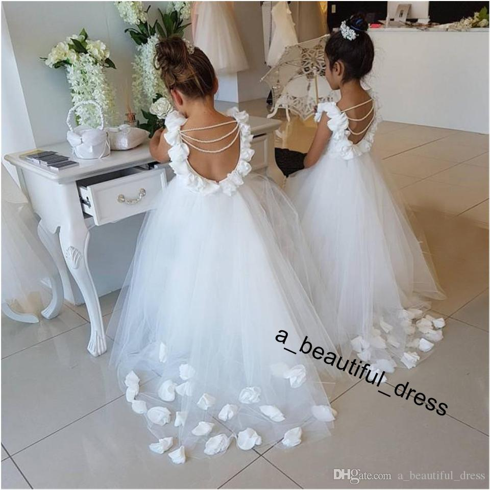 Lovely Flower Girls Dresses For Weddings Scoop Ruffles Lace Tulle Pearls Backless Princess Children Wedding Birthday Party Dresses FG1245