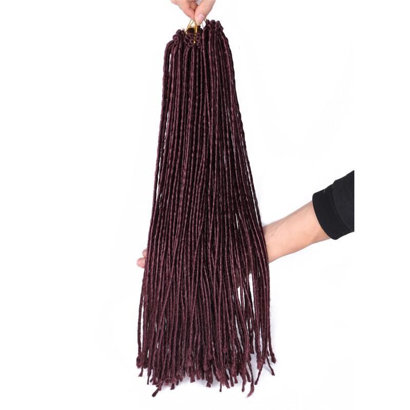 20inch أومبير الاصطناعية المجدل ملحقات الشعر 100G / جهاز كمبيوتر dreadlocs croche التضفير الشعر الأبيض Dreadlocs الكروشيه الضفائر للنساء