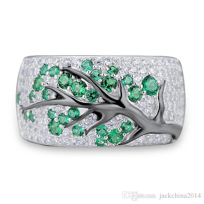 Tamaño 5-11 Venta al por mayor Joyería de moda de la vendimia 925 Sterling Silver Emerald CZ Diamond Gemstones Party Mujeres de la boda Regalo de la banda de la boda