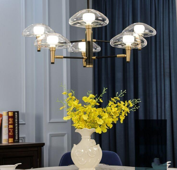 lámpara LED posmoderna hierro iluminación de cristal comedor deco accesorios que viven colgante sala de lámparas dormitorio colgar las luces MYY