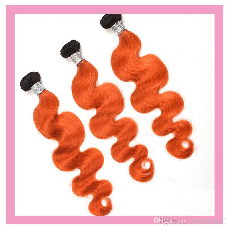 بيرو شعر الإنسان أومبير ملحقات شعر الجسم موجة 1B / أورانج مزدوجة لحمة 1B البرتقال 100٪ الانسان الشعر 3PIECES / الكثير