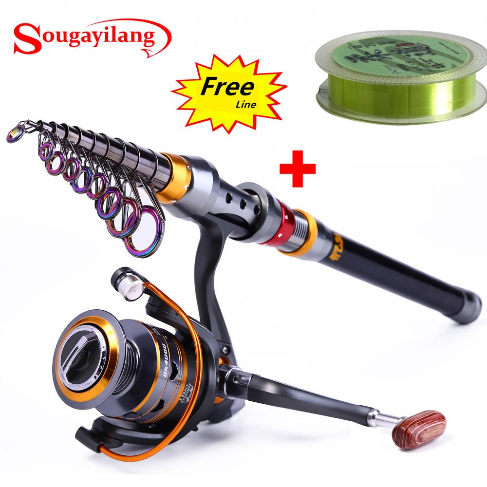 Sougayilang 1.8-3.6 m Canna da pesca telescopica e 11BB Ruota da pesca Mulinello da viaggio portatile Canna da pesca Spinning Rod Combo