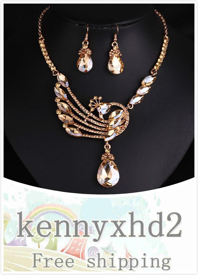 Dinner Jewellery European and American luxury bridal necklace earring jewelry two-piece fashion stylish wedding crystal peacock jewelry set
