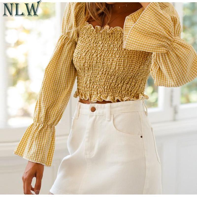 NLW 2019 Verano Moda Mujer A Cuadros Crop Tops y Blusa Mujer Casual Elástico High Street Short Shirt Girl Holiday Beach Blusa