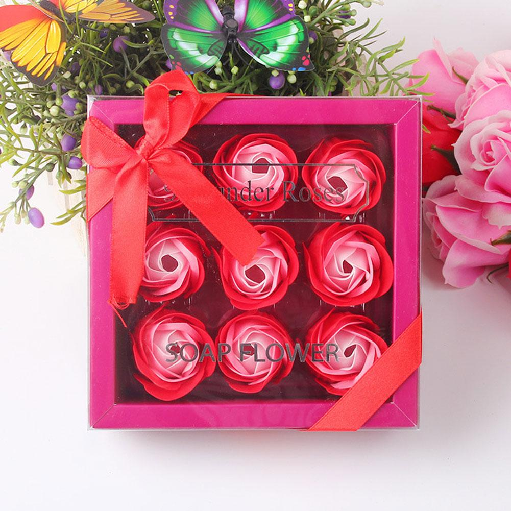 9pcs Artificial Flower Gift Box Simulation Valentines Day Wedding Birthday Handmade Home DIY Rose Head Romantic Scented Soap