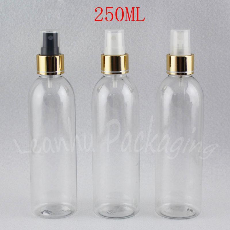 Gold ile 250ML Şeffaf Plastik Şişe Kozmetik Kapsayıcı boşaltın, Pompa, 250cc Toner / Su Packaging Şişe Sprey