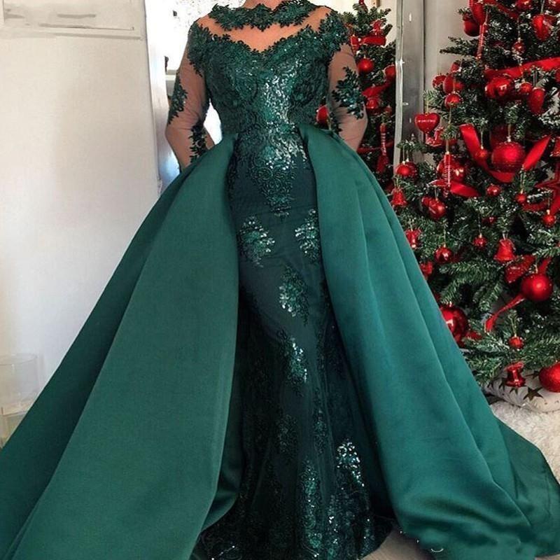 2019 Dark Green Jewel Neck sereia Lantejoulas Vestidos Sheer manga longa com trem destacável celebridade vestido de noite Wear Abric Dubai