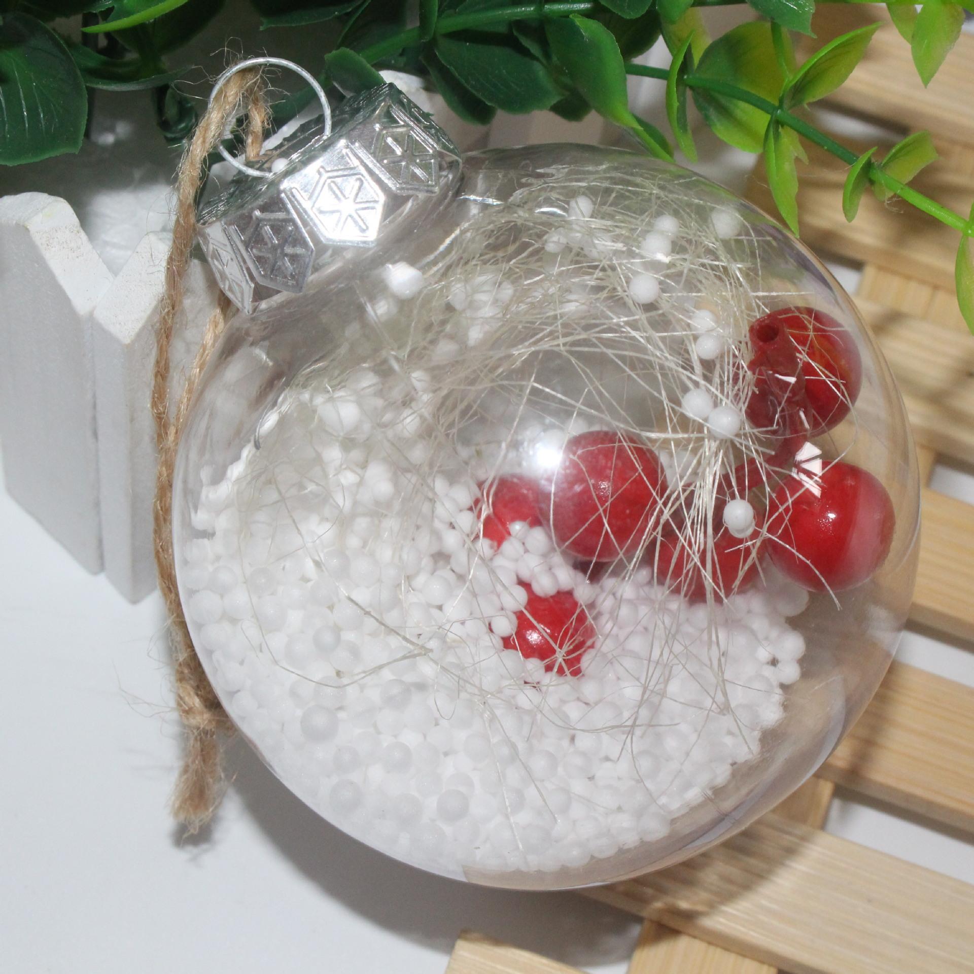 Nuova di Santa Cancella bagattella ornamento regalo sfera trasparente Per Decorazioni di Natale romantica sfera di plastica per albero di Natale Home Decor DH0385