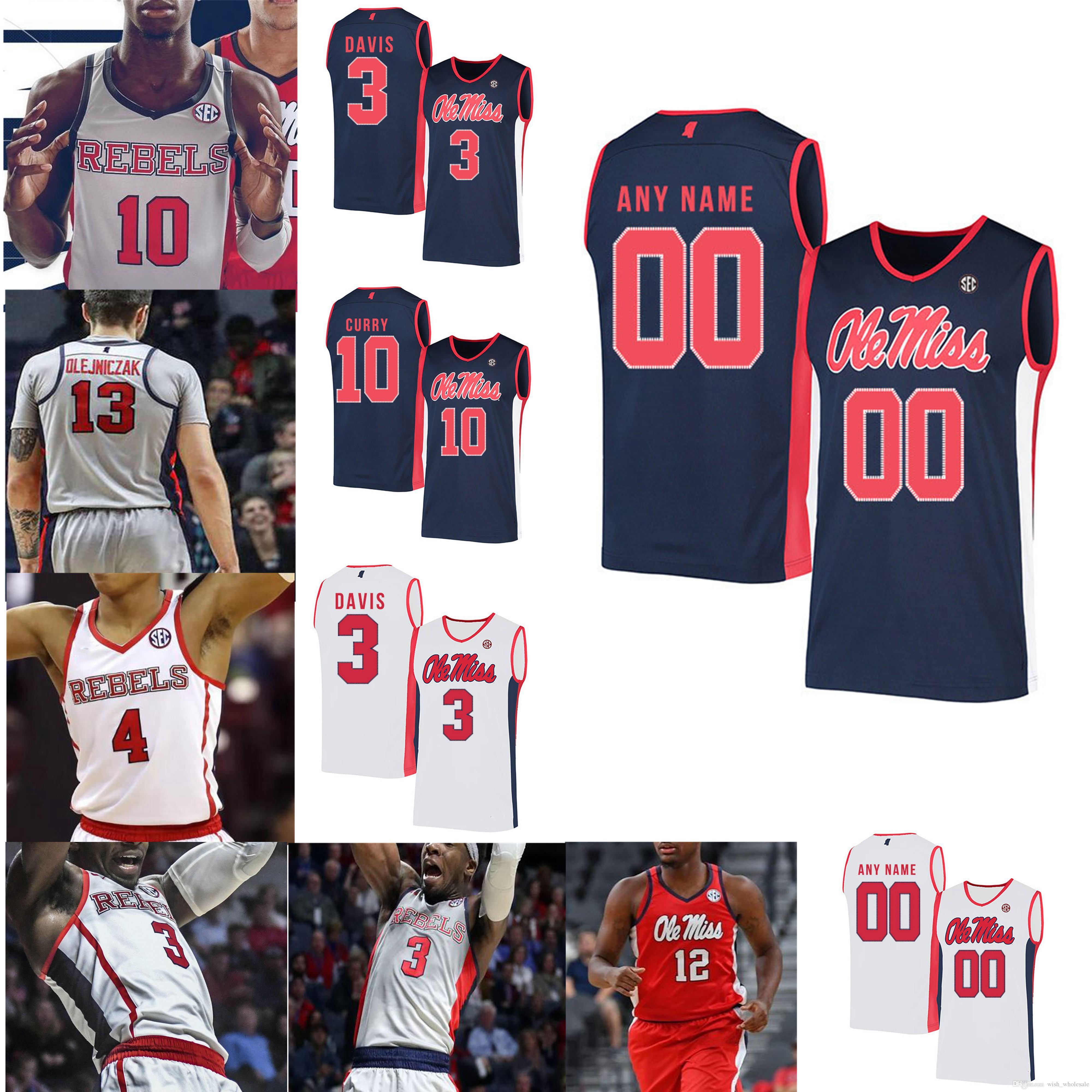 NCAA Ole Miss Rebels College Basketball Jerseys Terence Davis Jersey Breein Tyree Sammy Hunter Shon Robinson Carlos Curry Custom Stitched