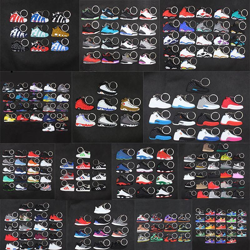 brinquedos bonito mini Silicone Sneaker Chaveiros AJ chaveiro tênis de basquete mochila pingente keyring sapatos de força presente criativas chaveiro