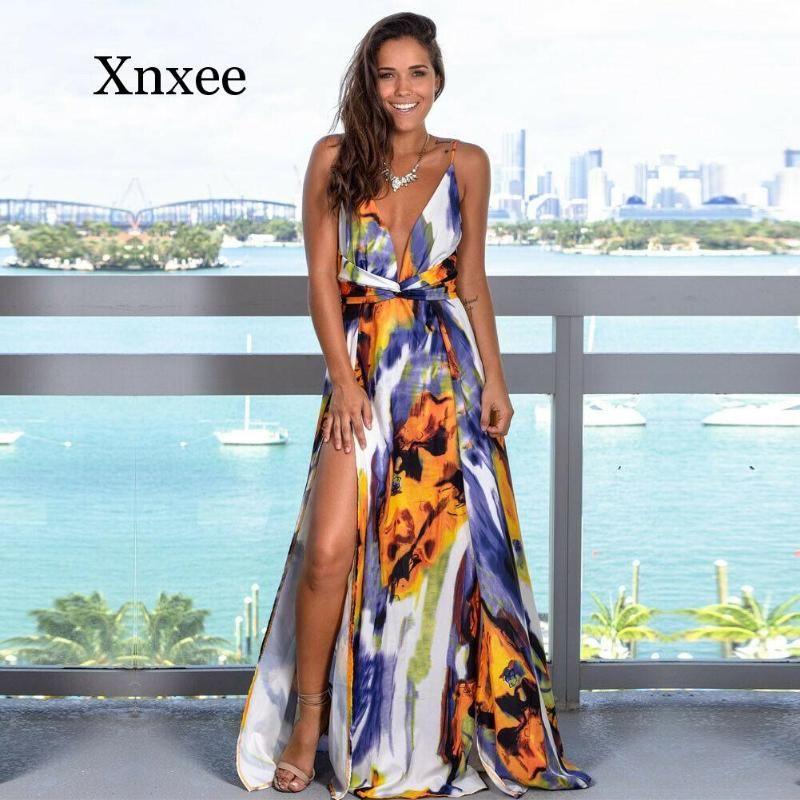 plage boho fleurs Femme Floral Maxi robe longue femme manches col en V de bal du soir Party Summer Beach Casual longue Sundress