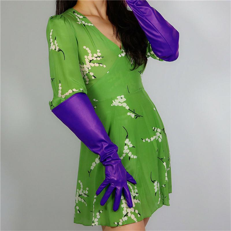"""LONG FASHION GLOVES Faux Leather 16"""" 50cm Purple Ultra Violet Large Wide Sleeves Women Long PU Leather Gloves WPU188"""