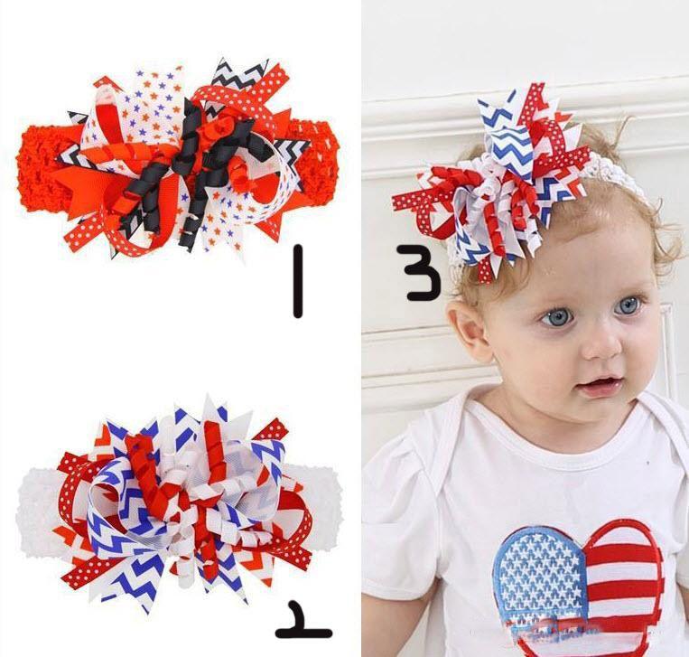 Fasce per bambina Fiocchi per bambini Fascia elastica larga per capelli in nastro di gros grain al 4 luglio Accessori per capelli