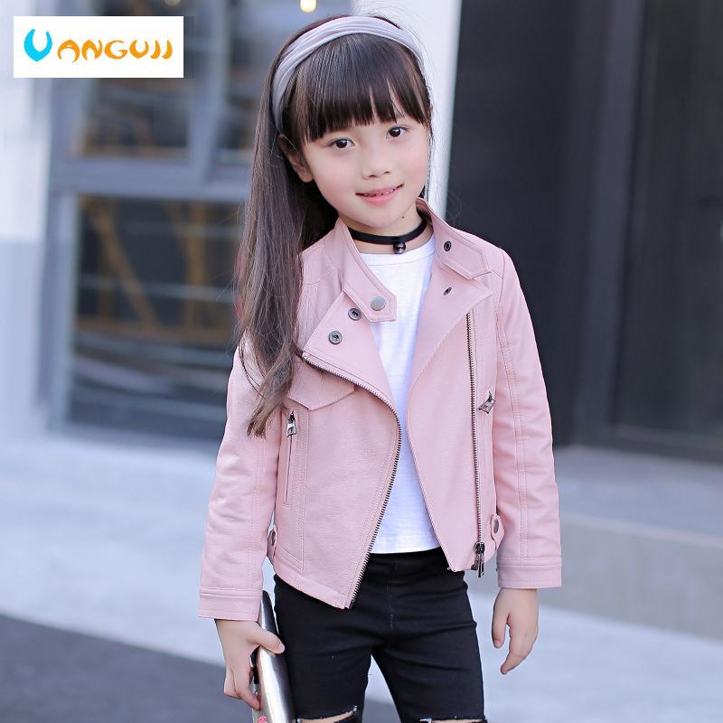 filles PU rivets veste zippée refroidisse veste Vêtements en cuir pour les filles 5-13 ans de moto en cuir zippée col oldClassic