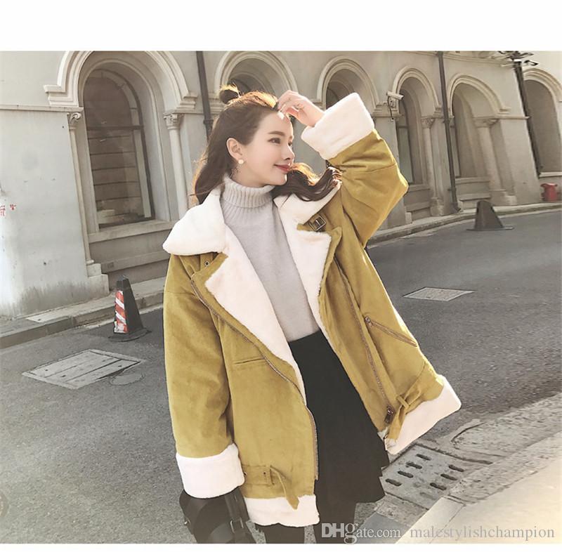 Invierno de las mujeres Escudo Diseñador piel del cordero flojo Grueso prendas de vestir exteriores de la cremallera ropa femenina calientes