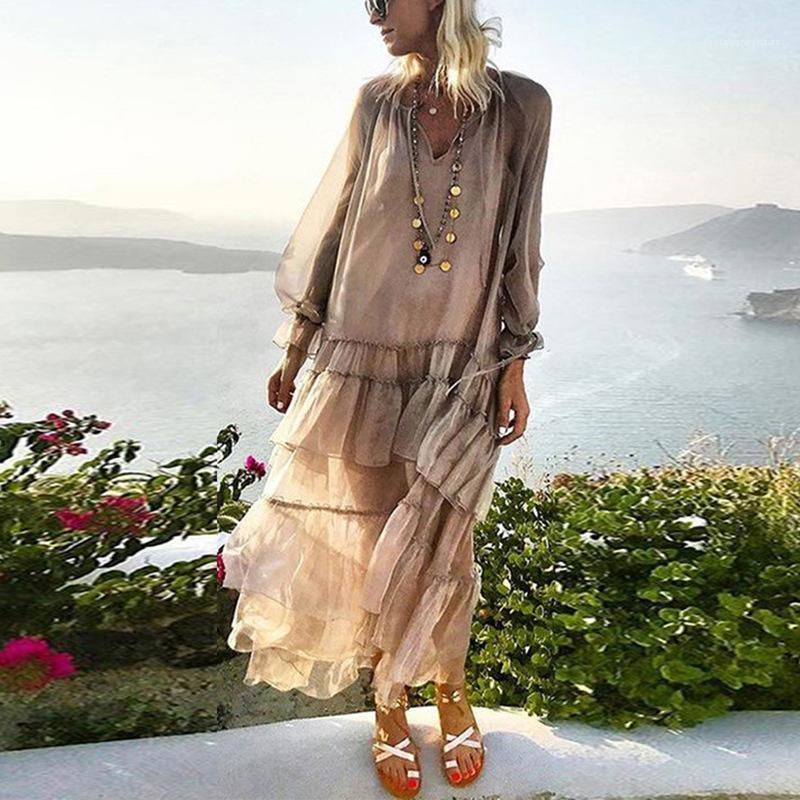Sólido Casual Feminino Vestuário Womens Designer de moda solta cor do vestido de Verão Pétala luva com painéis vestidos longos