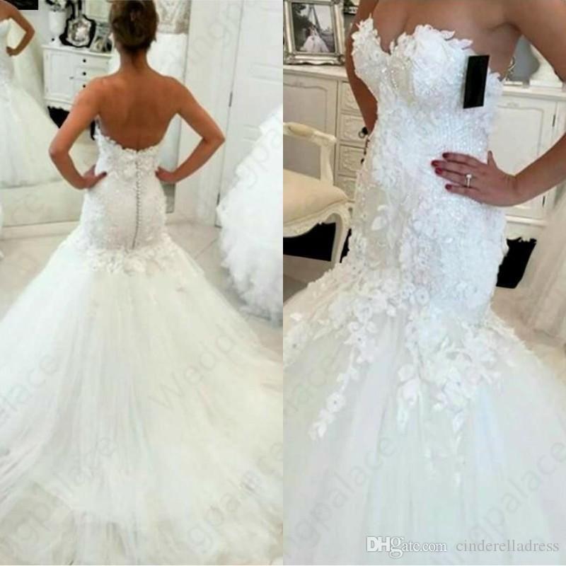 Plus Size sirène robes de mariée chérie Applique dentelle longueur de plancher Volants Tulle Longueur étage robe de mariée Robes de mariée Robes