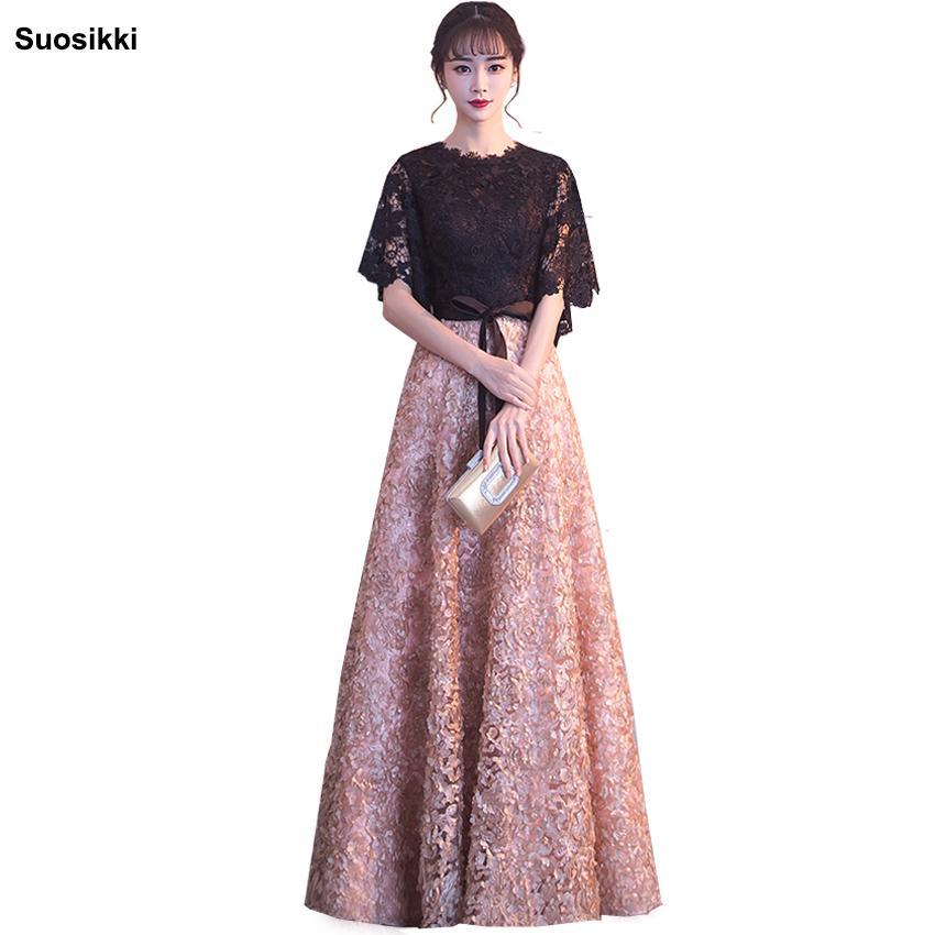 Suosikki 2018 Nuevo vestido de noche Negro con encaje de color caqui palabra de longitud largo Prom vestidos de fiesta vestidos de noche formales Y19042701
