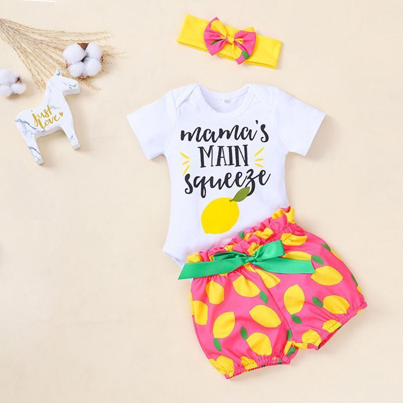 2PCS bambino vestiti della ragazza divertente Lettera Bianco Top Outfit + Stampa Shorts con archetto estate set di moda Kids Clothes Toddler 20Mar