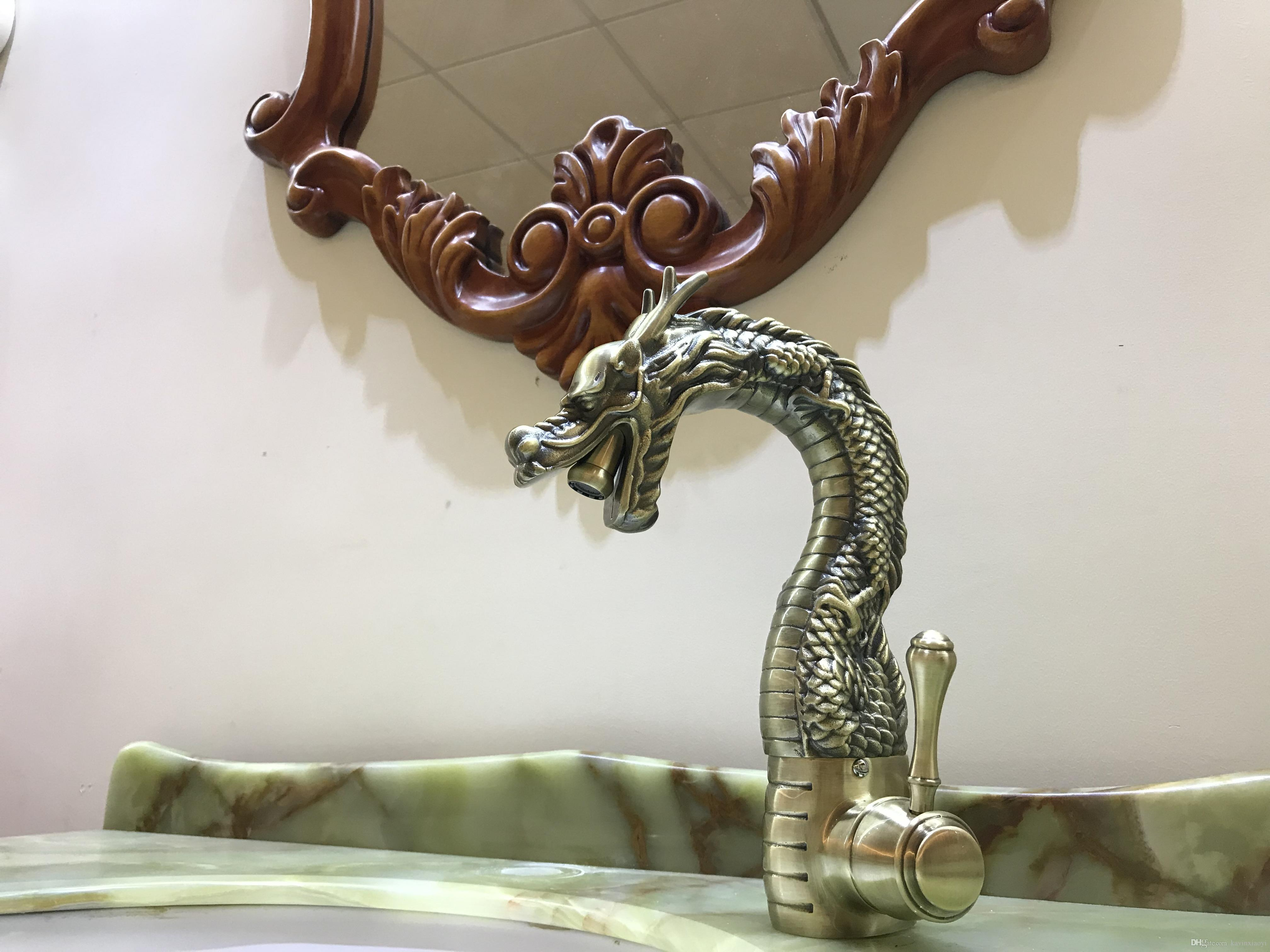 Antike Messing Einlochmontage / Griff Bad Toilette Waschbecken Drachen Mischbatterie Deck montiert Luxus Wasserhahn