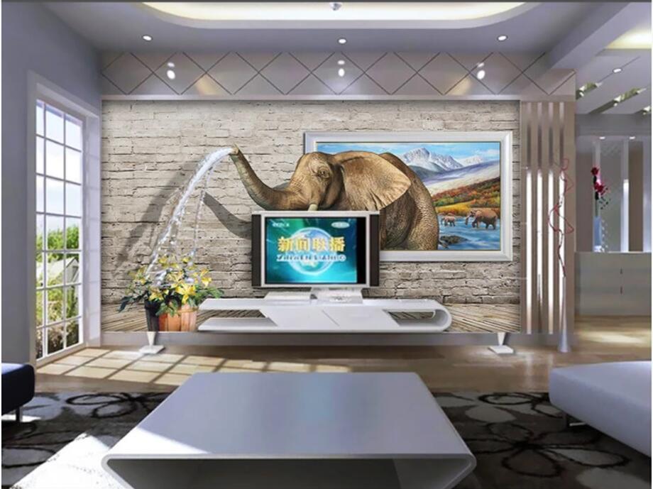 coutume photo 3d papier peint peinture murale murale design fond mur d'image murale eau Elephant pulvérisation 3D maison art décoration murale autocollants 3d