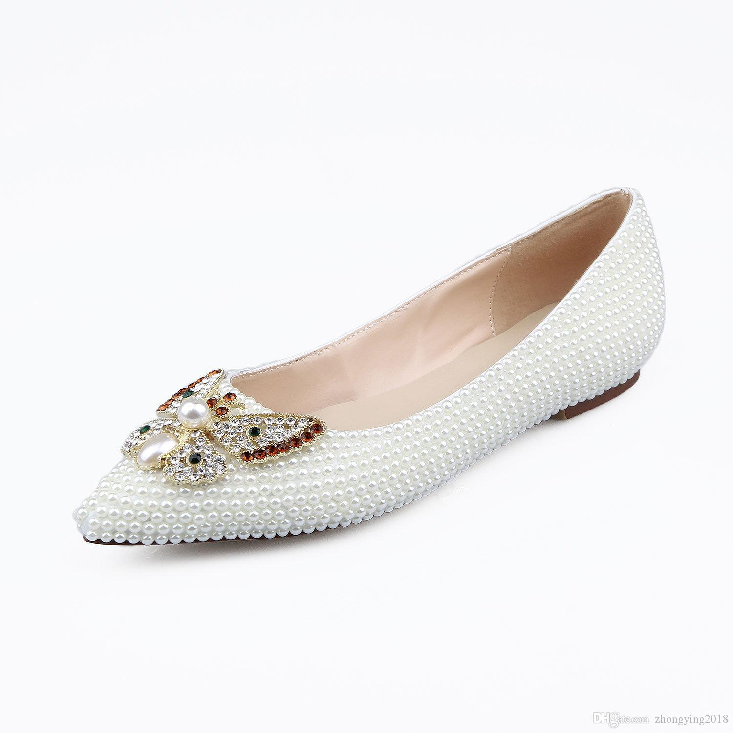 Genuine leather bride shoes pearl shoes Hand made flat heel loafers for women dress loafer butterfly knot flats bead dancer footwear zy499