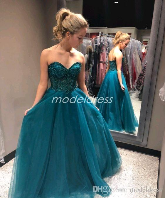 Elegant Hunter Prom Dresses 2019 Sweet Heart Backless Beads Long Formal Evening Party Gowns Special Occasion Dress abiti da ballo