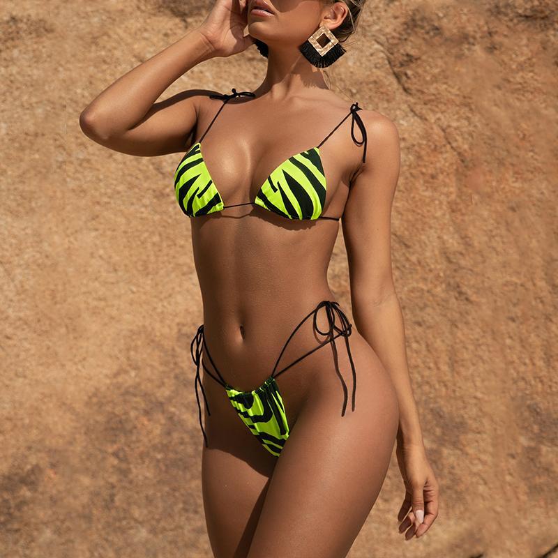 neon sexy micro bikini ragazza donne dello swimwear stampa zebra costume da bagno mujer taglio alto costume da bagno femminile spinge in su 3 pezzi Bikini regolati