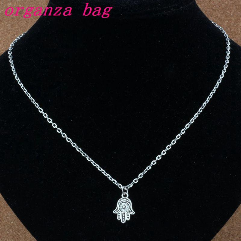Womens Pendant Necklace 15pcs//Lots Antique Silver Hamsa Hand Alloy Charms Pendant Necklaces Jewelry DIY 23.6inches Chains