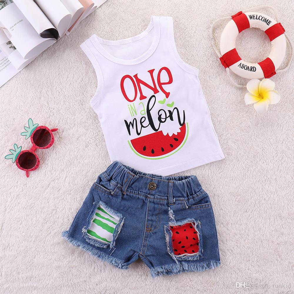2PCS الزي مجموعة Kdis طفل بنين بنات الصيف موضة الملابس مجموعة واحدة البطيخ مطبوعة الصدرية الأعلى الدينيم السراويل