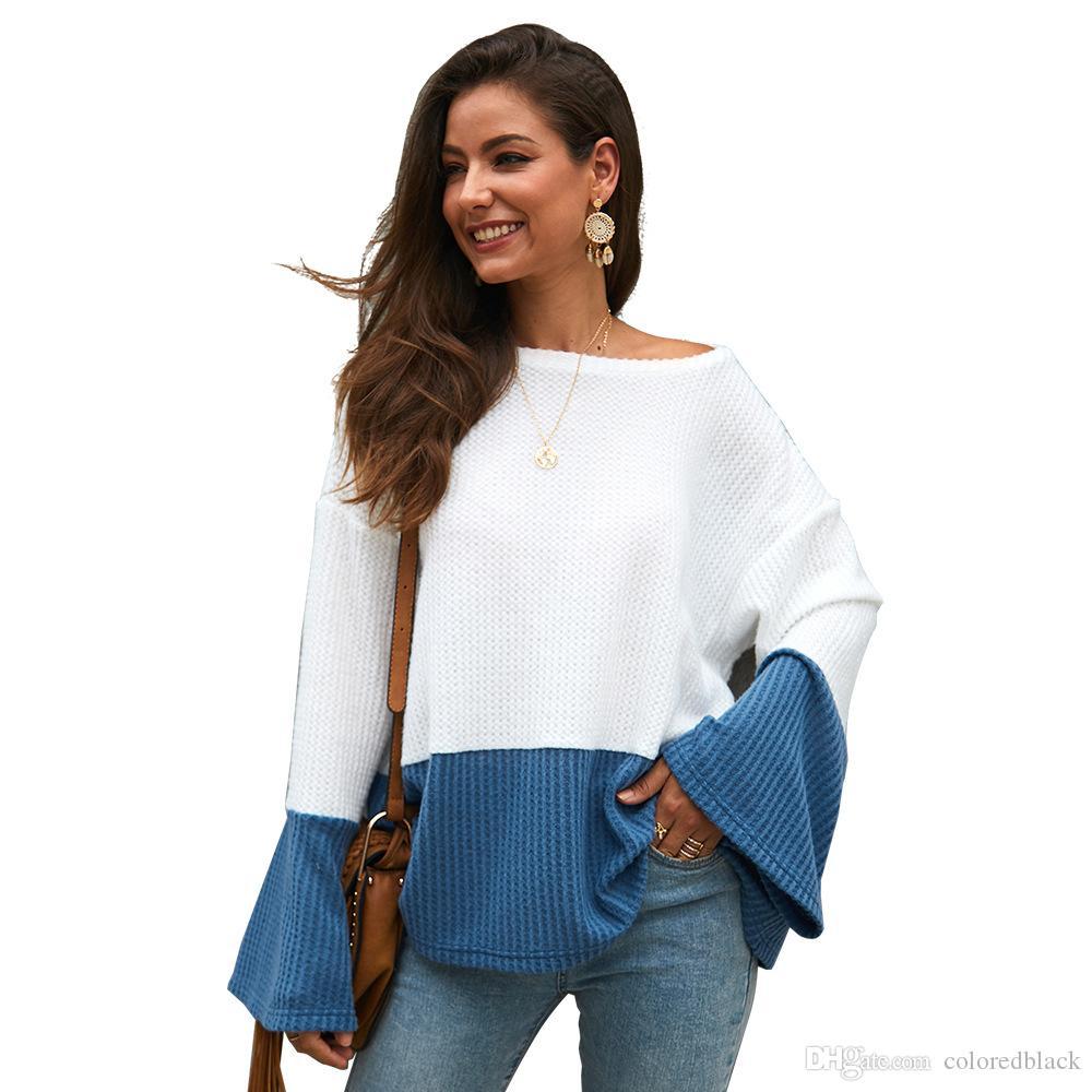 Herbst Frühling Casual Pullover Pullover Oansatz Frauen Lange Ärmel Strickjacke Kleider Solide Strickpullis Für Damen
