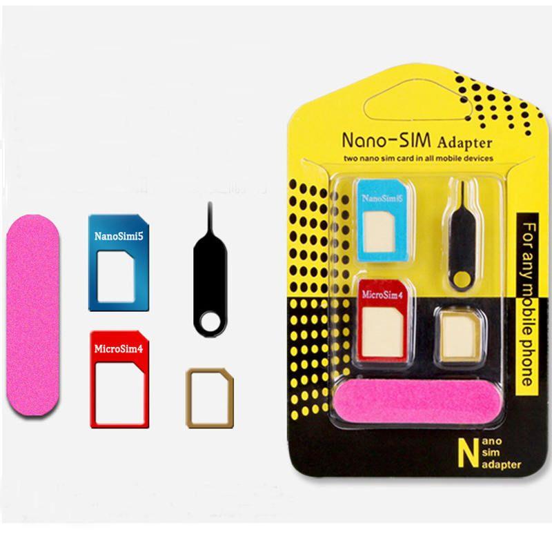 5 in1 Aluminum Metal Nano SIM Card to Micro SIM standard Adapter For Samsung S6 Edge Converter Eject Pin