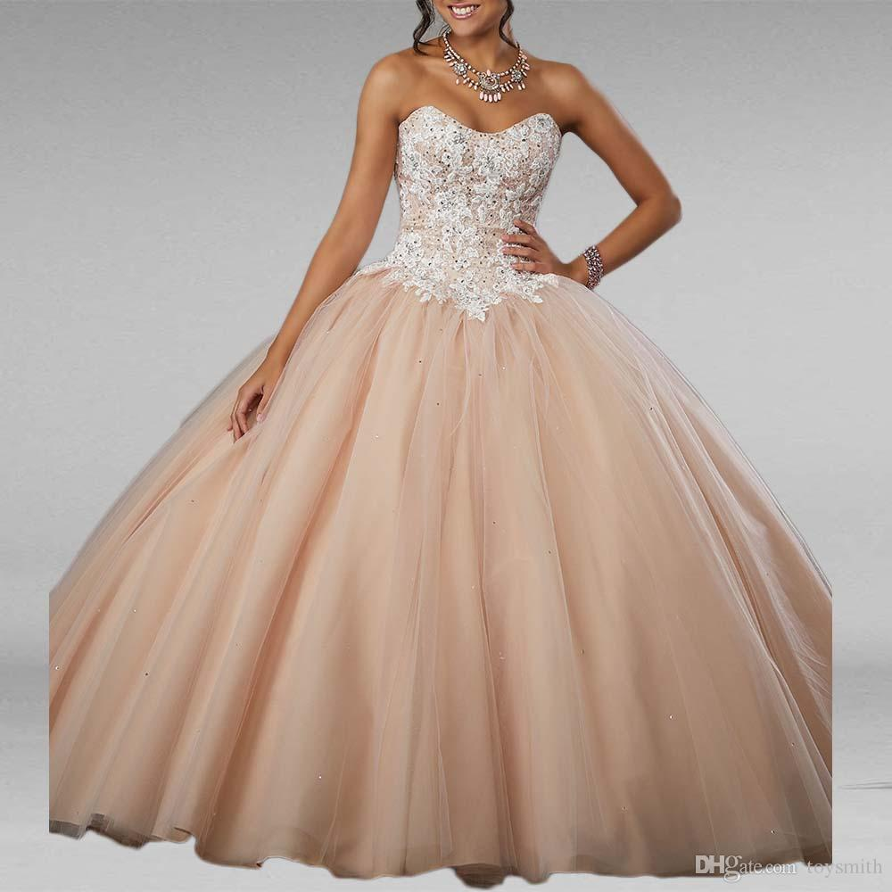 New Ball Gown Quinceanera Dresses Prom Dress Applique Lace Sweet Princess Dresses