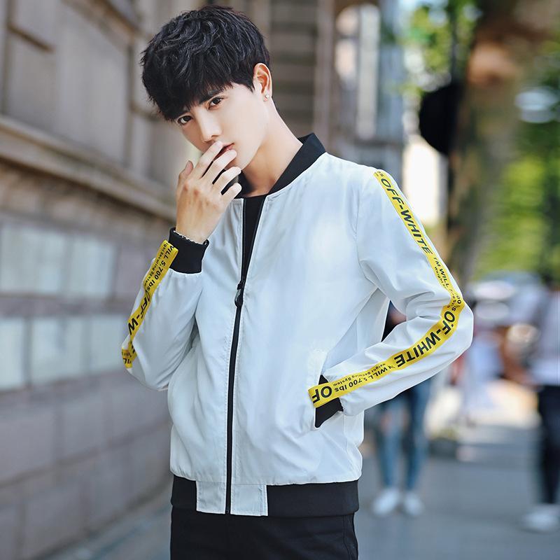 Printemps et Automne nouveau style hommes de baseball col Stripes Slim Fit manteau des jeunes Origional Hong vague veste hommes de