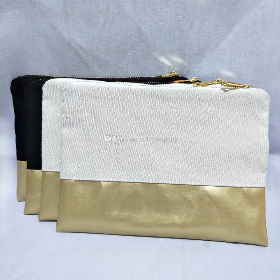 1PC القطن الطبيعي / أسود قماش حقيبة مستحضرات التجميل مع الذهب ماء جلد أسفل مطابقة لون بطانة فارغة حقيبة ماكياج 7x10in في الأوراق المالية